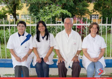 Diretoria: Edmeire Zennaro da Silva, Patricia Teodoro Marques Paiva, Diretor: Padre Hélio Comissário da Silva e Maria Leonete R. Rosa